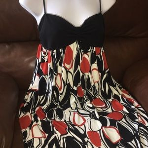 Max Studio Maxi Dress Red Black White Print SZ Sm